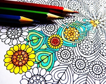 Printable Mandala Coloring Page Art Therapy Adult