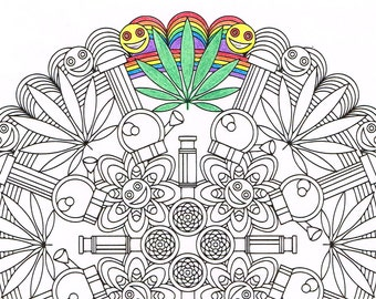 image about Printable Stoner Coloring Pages named Weed coloring site Etsy