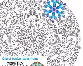Mandala Coloring Page Ice Wreath printable winter wreath | Etsy