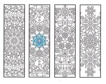 Christmas Coloring Bookmarks Christmas Mandalas Coloring Etsy