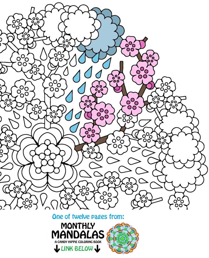 Coloriage Fleur Hippie.Printemps Imprimable De Mandala Coloriage April Showers Etsy