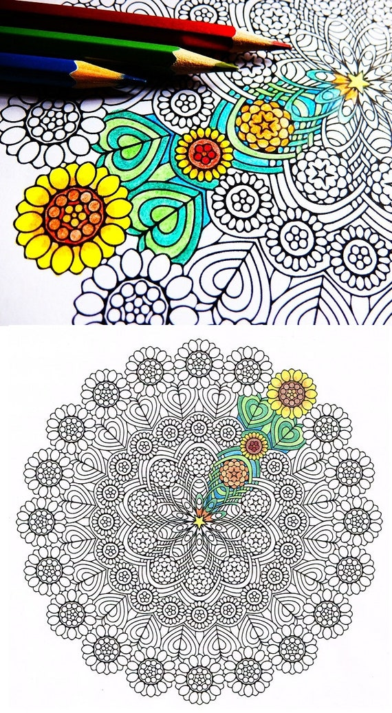 Items Similar To Mandala Coloring Page