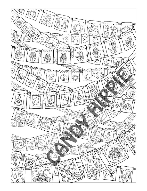 Coloring Page for Adults Prayer Flags Printable art to   Etsy