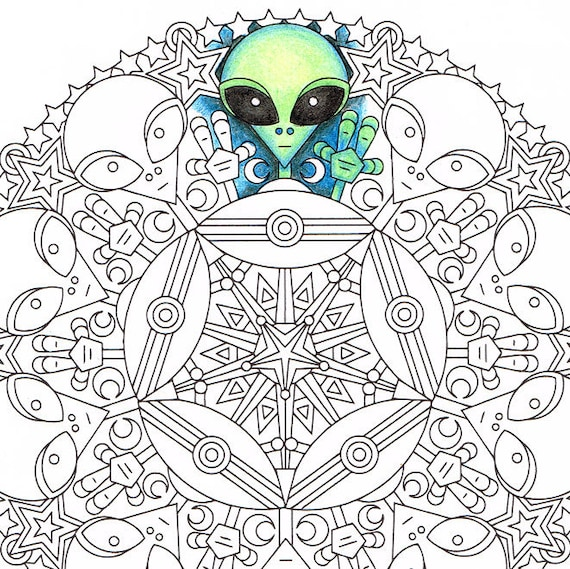 alien coloring pages for adults Mandala Coloring Page Little Green Friends printable | Etsy alien coloring pages for adults