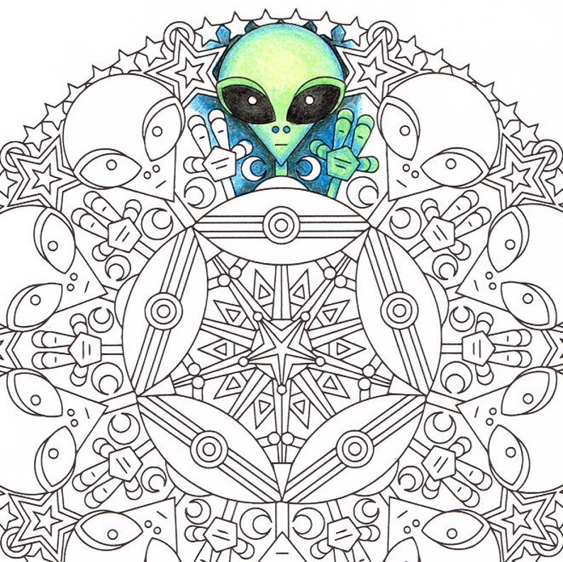Mandala Coloring Page Little Green Friends Printable Etsy