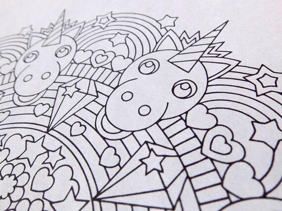 Rainbow Unicorn Mandala Coloring Page Printable Coloring Page Adult Kids Coloring Pages Pastel Girl Birthday Party