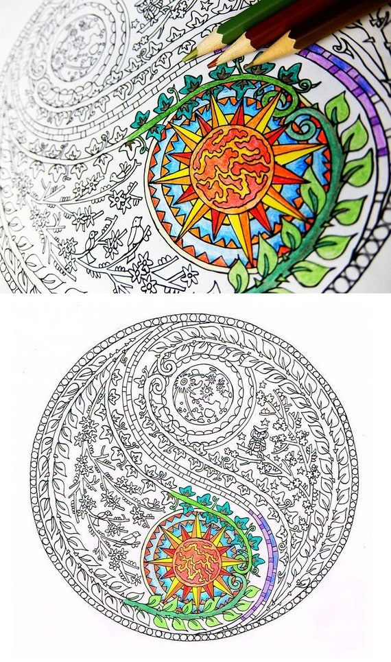 Coloring For Adults Yin Yang Moon And Sun Printable Adult Etsy