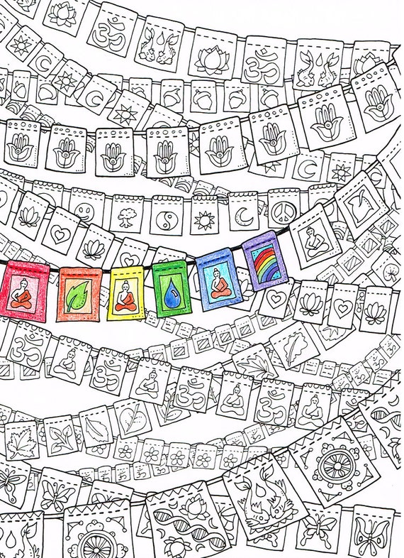 Coloring Page For Adults Prayer Flags Printable Art To