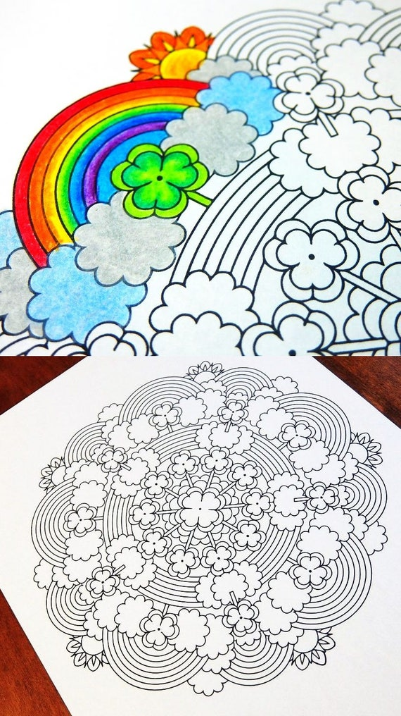 Mandala Coloring Page St Patrick\'s Day printable March