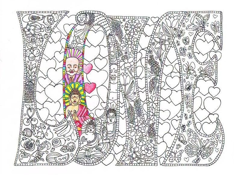 Kleurplaten Voor Volwassenen Mandala Love.Volwassen Kleurplaat Love Afdrukbare Lijnen Te Printen En Etsy