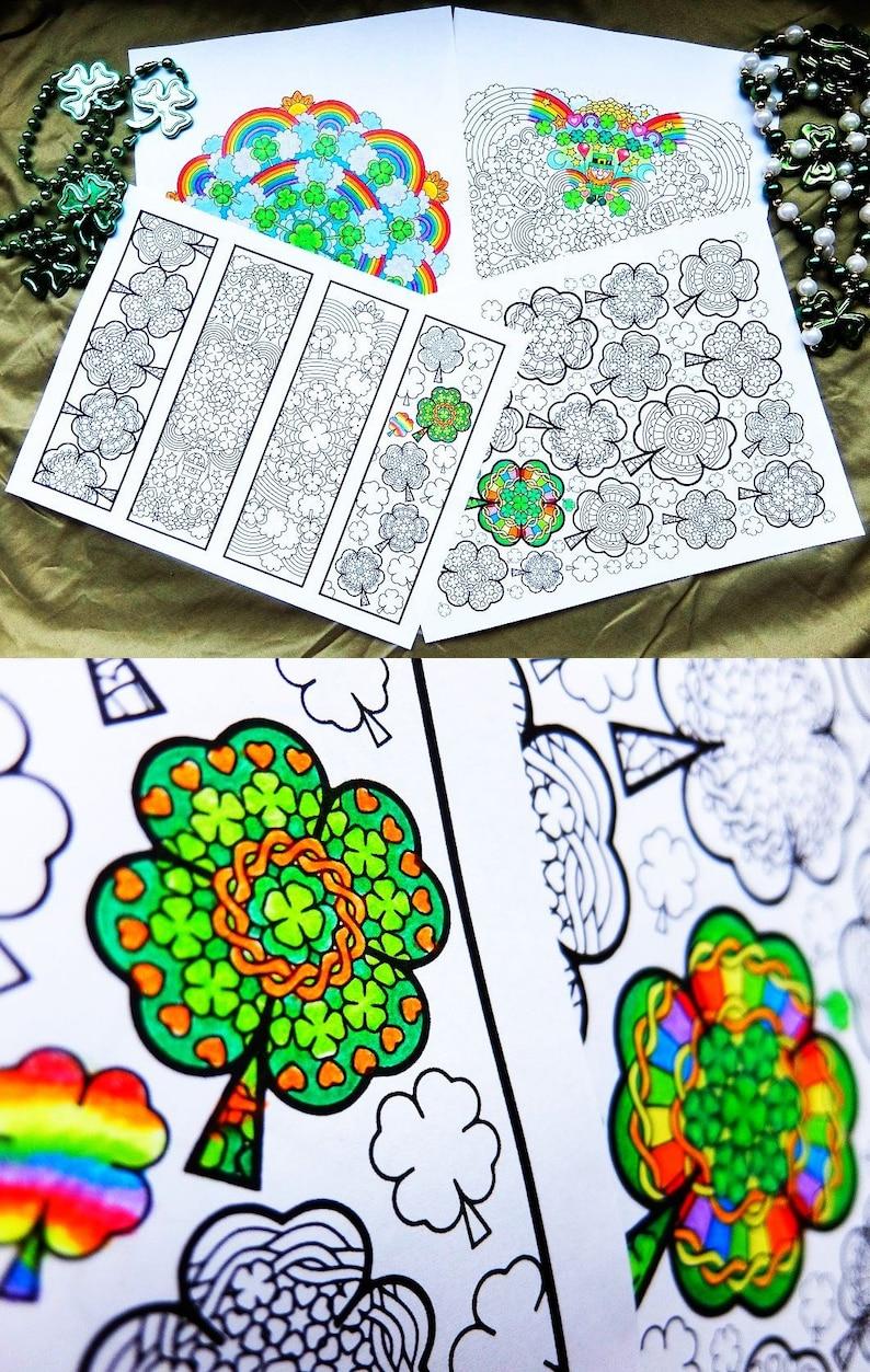 St Patricks Day Coloring Bundle 4 Printable St Etsy