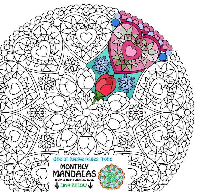 Mandala Coloring Page Valentines Day Printable