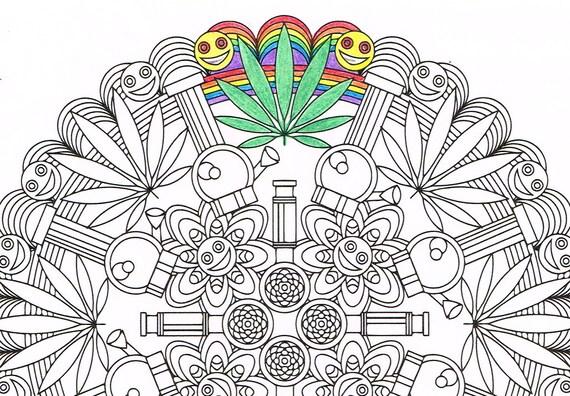 Mandala para colorear Marijuandala para colorear para