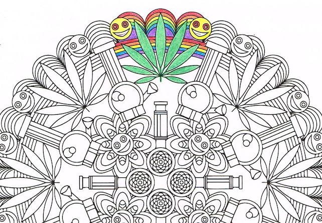 Mandala para colorear Marijuandala para colorear para | Etsy
