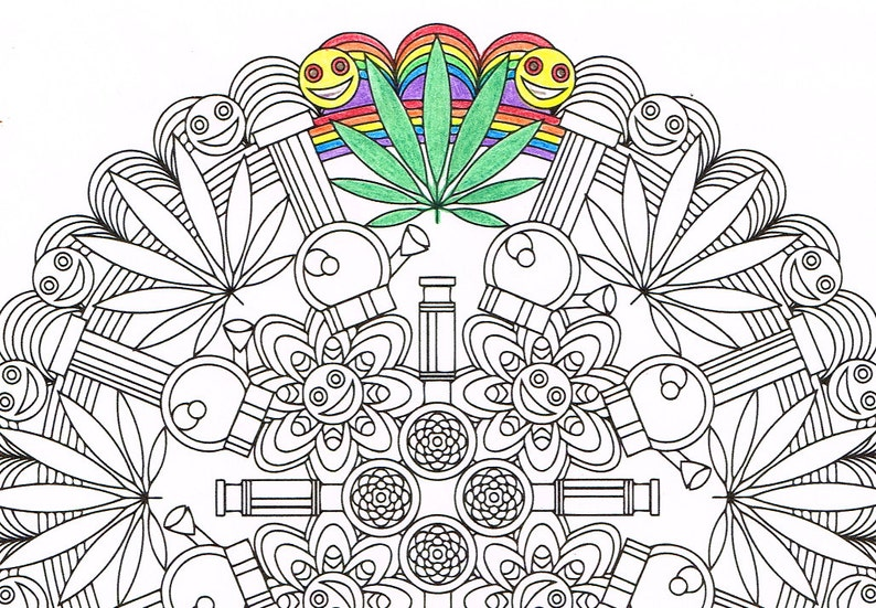photo regarding Printable Stoner Coloring Pages called Mandala Coloring Web page - Marijuandala - printable coloring webpage for grown ups