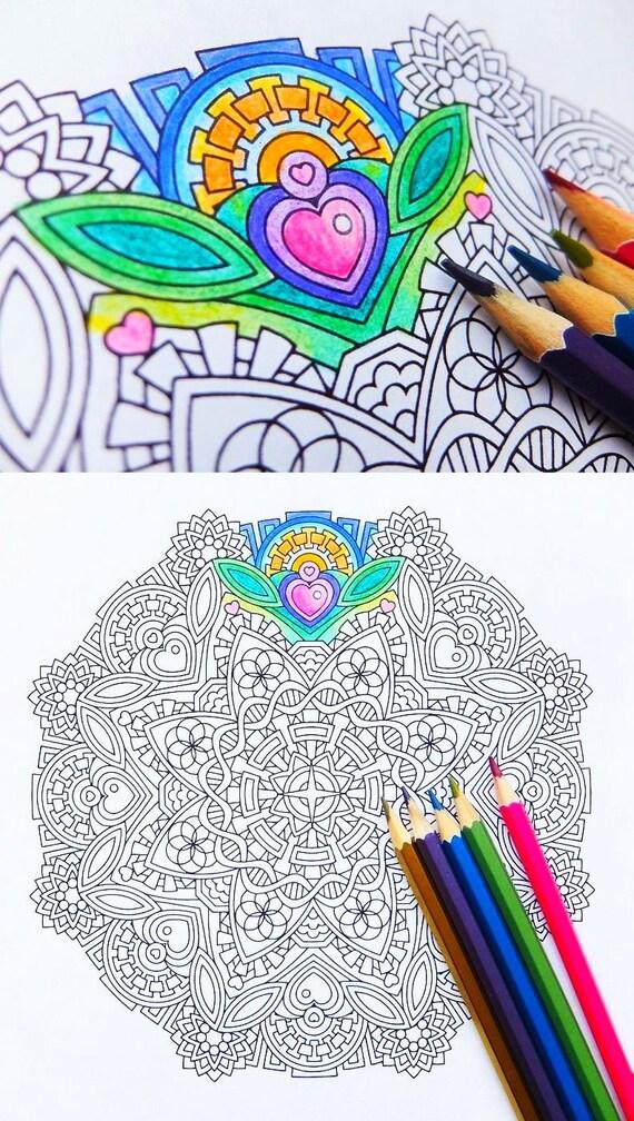 Mandala Coloring Page Empathic Joy Mudita printable   Etsy