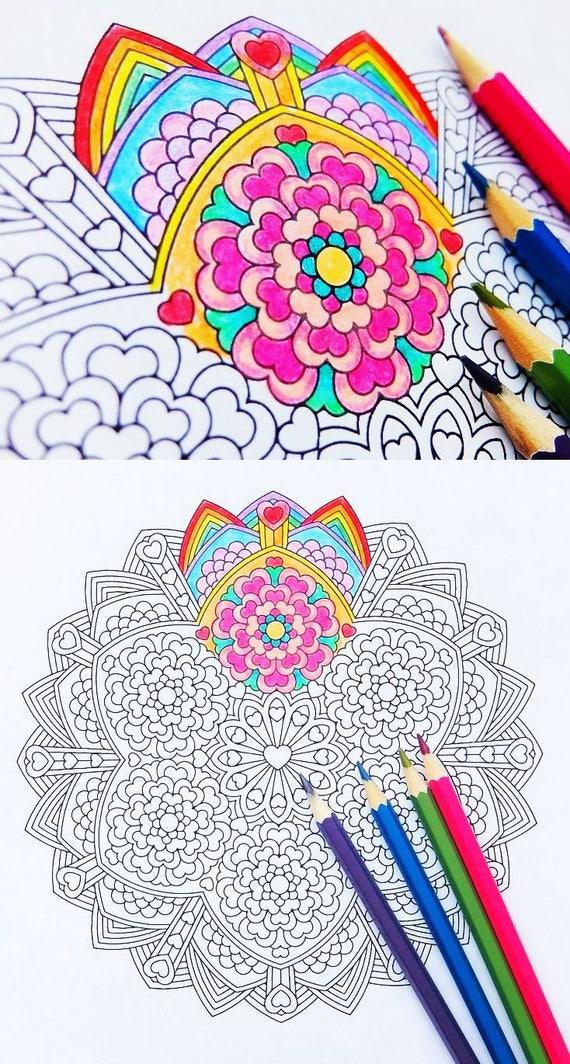 Mandala Coloring Page Compassion Karuna printable   Etsy