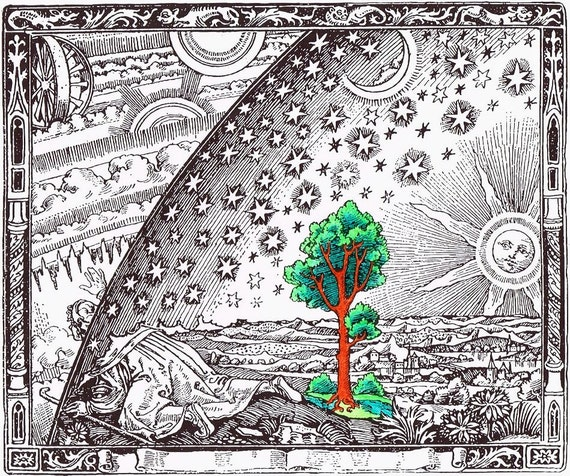 Adult Coloring Page The Flammarion Engraving Printable