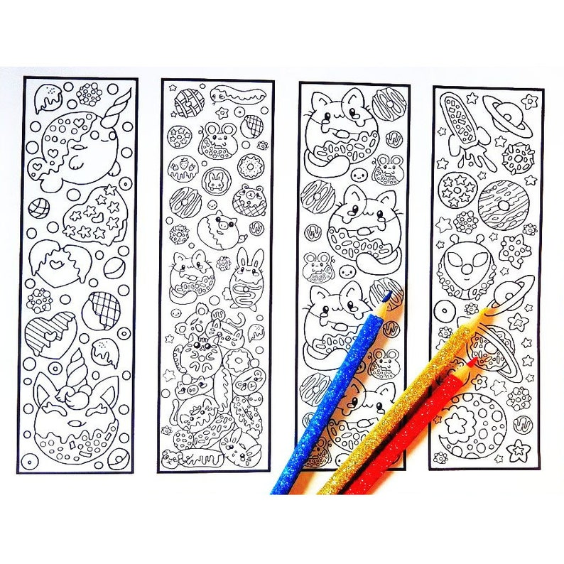Cute Coloring Bookmarks - Dreamy Donuts bookmark coloring page for adults  and big kids - Four printable kawaii donut bookmarks to color