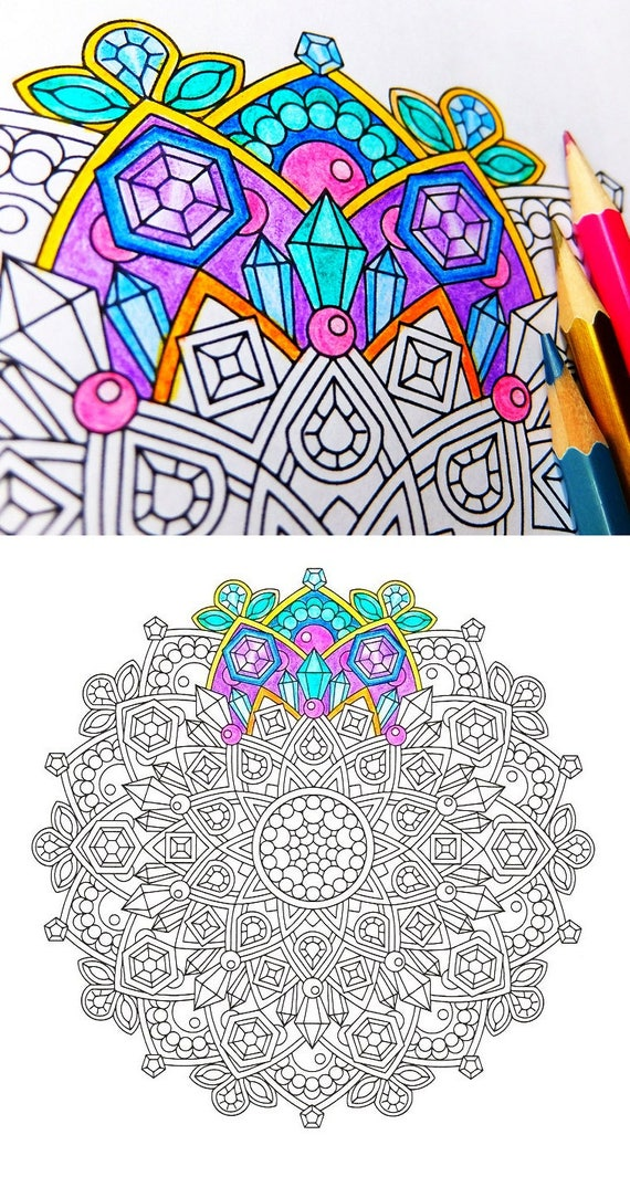 Mandala Coloring Page Jewels in the Lotus instant download   Etsy