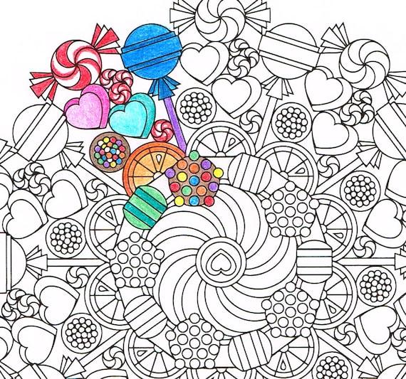 Mandala Malvorlagen Runde Süßigkeiten Druckbare Malbuch Etsy