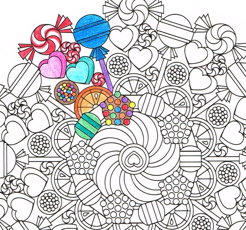 Mandala Coloring Page Round Of Sweets Printable Coloring Etsy