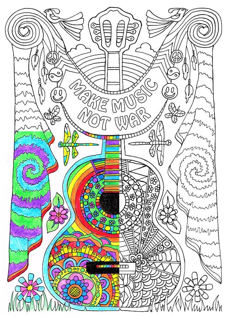 Kleurplaten Voor Volwassenen Muziek.Pagina Kleurplaten Voor Volwassenen Maken Muziek Etsy