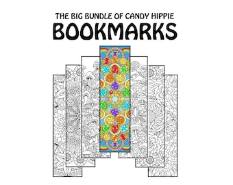 Coloring Bookmarks Coloring Book Bundle - 15 printable adult coloring pages for adults and big kids - 60 bookmarks - instant download
