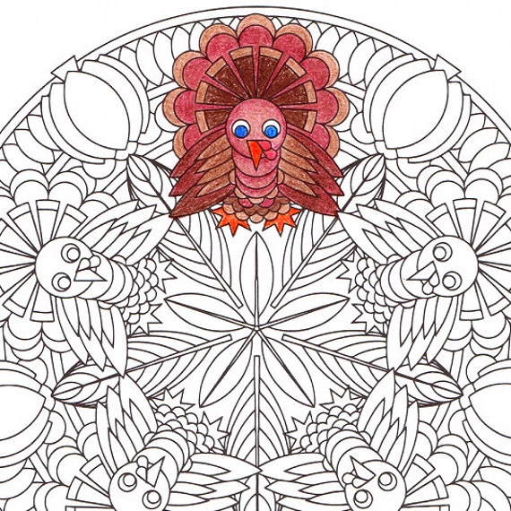 Thanksgiving Mandala Coloring Page Turkey Time printable | Etsy
