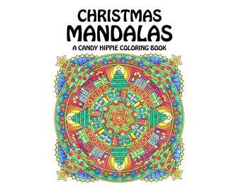 Christmas Mandalas Coloring Book - printable adult coloring book for adults and big kids - 12 Christmas coloring pages