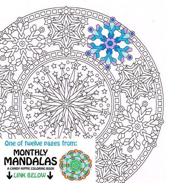 Mandala para colorear página feliz año nuevo página para | Etsy