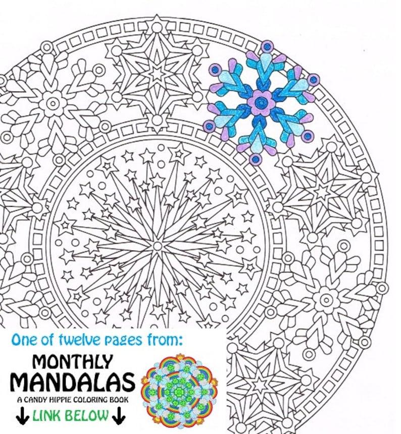 Mandala Coloring Page Happy New Year Printable January Etsy