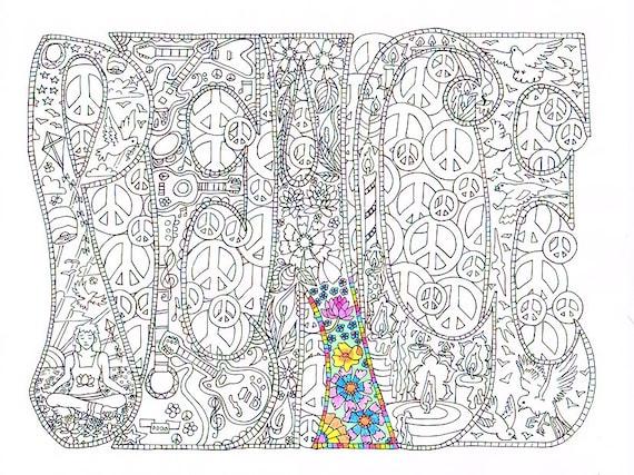 Kleurplaten Direct Printen.Volwassen Kleurplaat Peace Afdrukbare Lijnen Te Printen En Te Kleuren