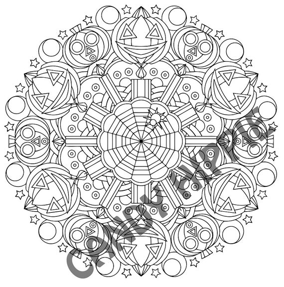 Halloween Mandala Coloring Page Whacko Jack O\' | Etsy