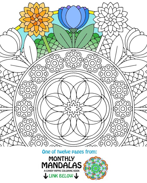 Coloriage mandala peut fleurs printemps imprimable etsy - Coloriage mandala printemps ...