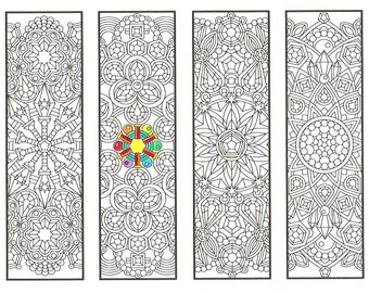 Coloring Bookmarks - Crystal Mandalas Page 1 - coloring for adults, big kids and bookworms - get well soon gift