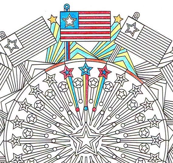Página para colorear de día de la independencia 4 americano | Etsy