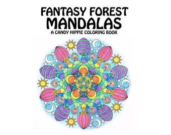 Adult Coloring Book - Fantasy Forest Mandalas - printable mandala coloring book - 12 adult coloring pages