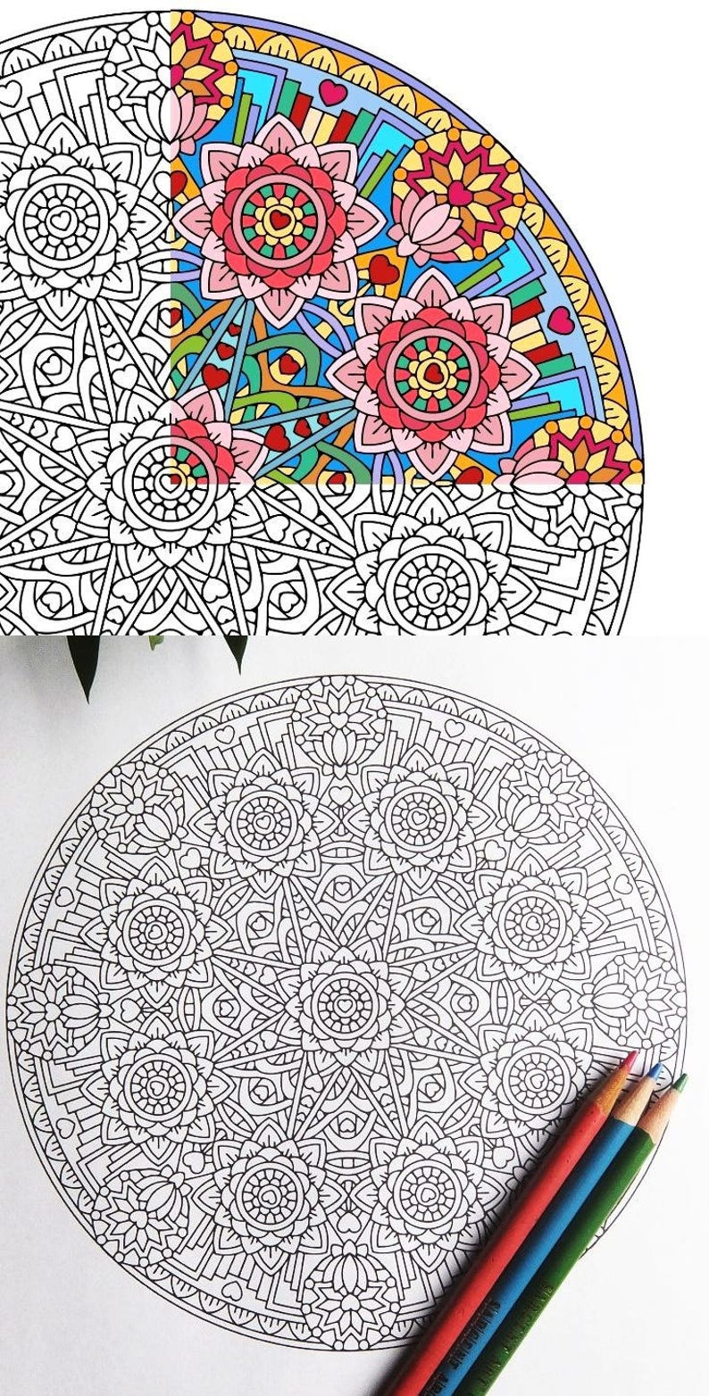 Kleurplaten Ster Mandala.Mandala Kleurplaat Gelijkmoedigheid Upekkha Afdrukbare Etsy