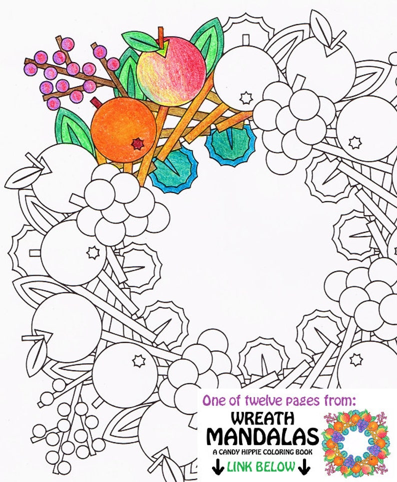 Mandala Coloring Page Fruit Wreath Printable Wreath Etsy
