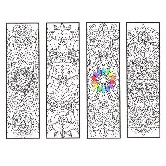 Segnalibri Da Colorare Flower Mandala Pagina 1 Disegni Da Etsy