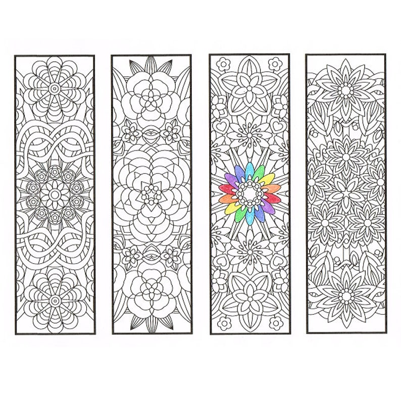 photograph relating to Printable Bookmarks for Adults named Coloring Bookmarks - Flower Mandalas Site 1 - coloring for grown ups, substantial youngsters and your resident bookworm - 4 printable bookmarks in direction of shade