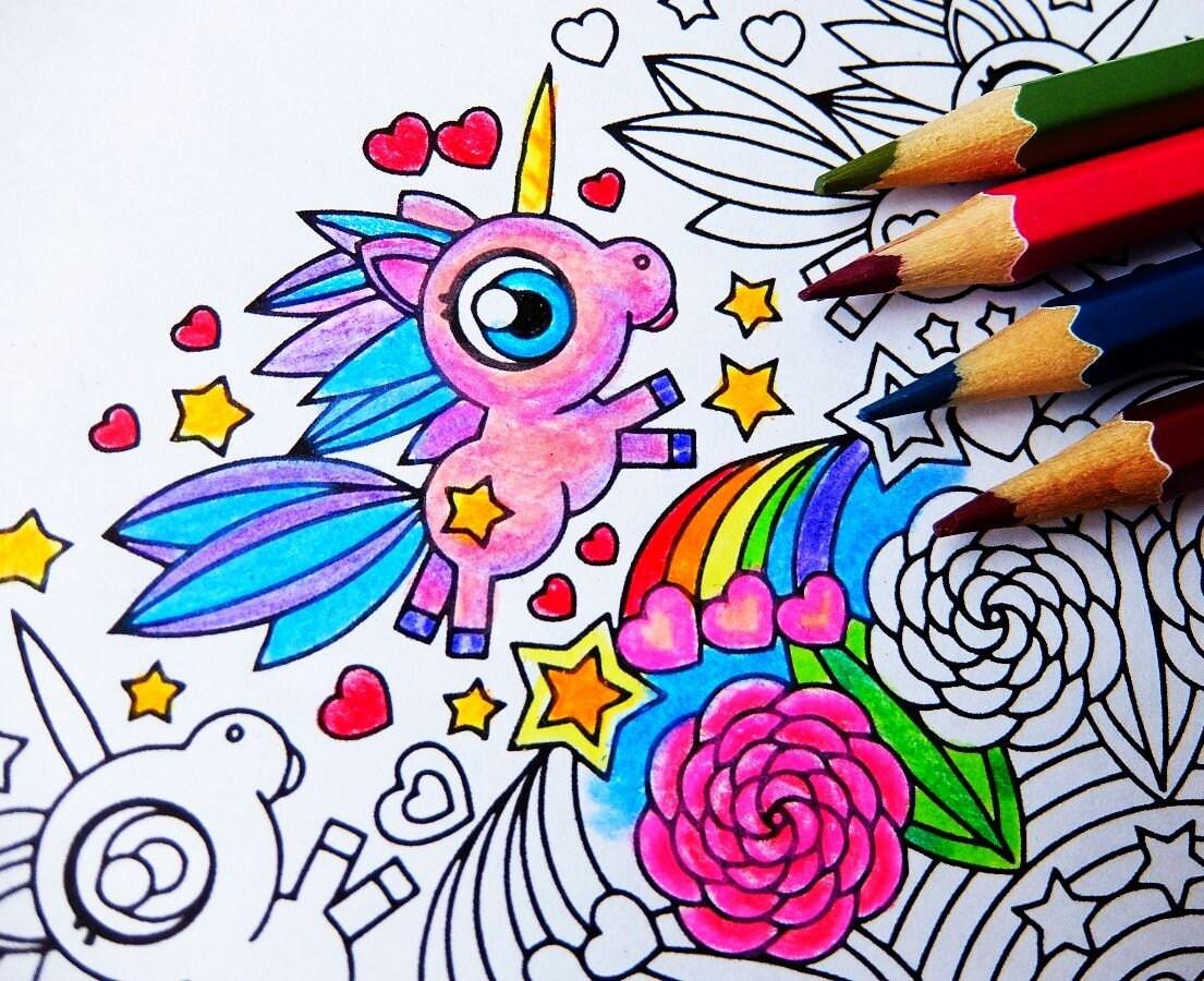 Unicorn Frolic Mandala Coloring Page For Adults And Big Kids Cute Kawaii Printable