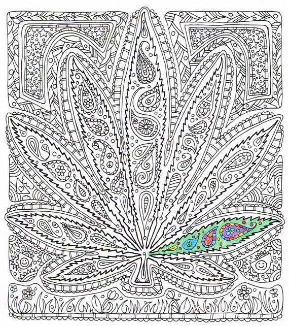 Adult Coloring Page Got Leaf Printable Pot