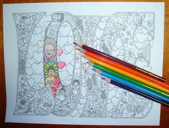 Kleurplaten Boek Printen.Volwassen Kleurplaat Love Afdrukbare Lijnen Te Printen En Te Kleuren