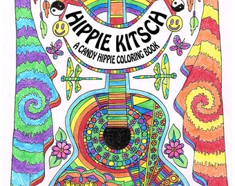 Hippie Kitsch - printable adult coloring book - 10 adult coloring pages - hand drawn with neat, crisp lines