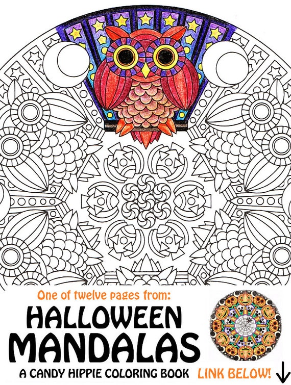 items similar to halloween mandala coloring page mr mooneye printable halloween coloring. Black Bedroom Furniture Sets. Home Design Ideas