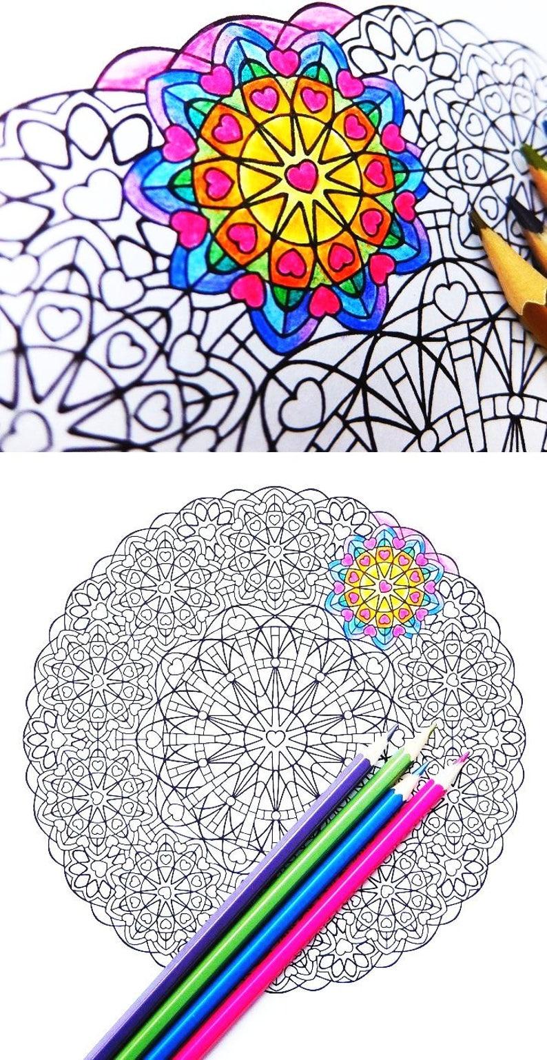 Coloriage De Mandala Damour A Imprimer.Mandala Coloriage Amour Bienveillant Metta Imprimer Etsy