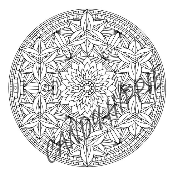 Mandala Coloring Page Yin Yang Lilies Coloring Page For Adults To Print And Color