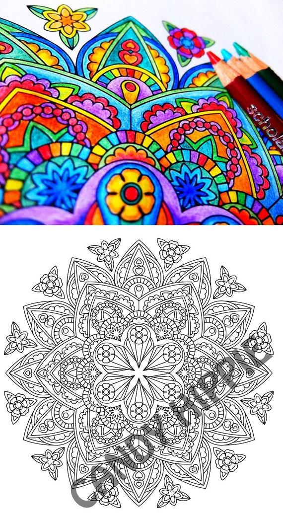 Mandala Kleurplaat Godin Broche Afdrukbare Kleuren Voor Etsy